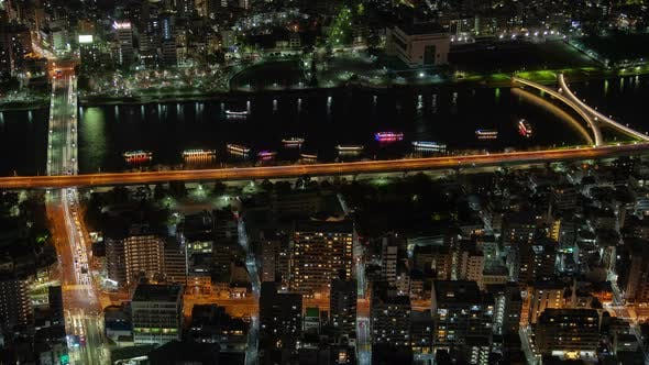 Tokyo Night River Aerial Cityscape Traffic Japan Time Lapse