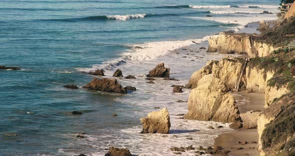 Deserted Wild El Matador Beach Malibu California Ocean Waves with