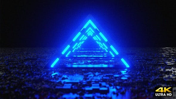 Abstract Futuristic Neon Triangle Fly Through By