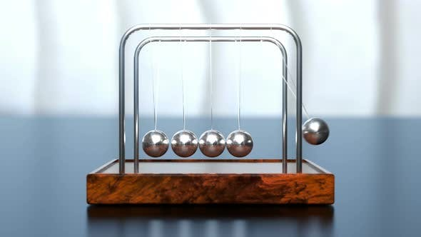 Newton's Cradle on Office Table by Egoroff | VideoHive