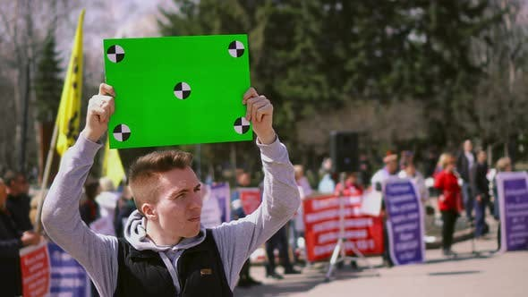 People on Political Riot Look  Chromakey Placard  Billboard