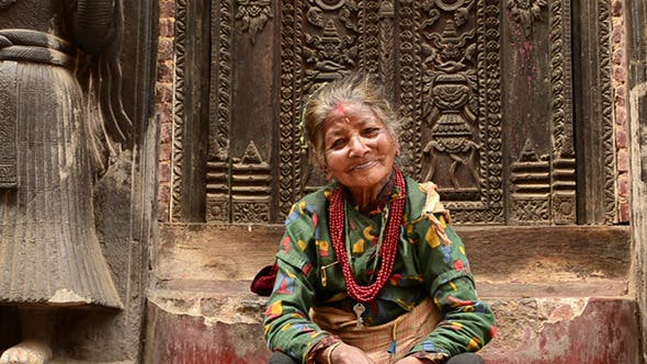 Old Woman On Steps Of Temple By Sergeyxsp Videohive