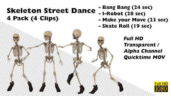 Funny Skeleton Street Dance 4 Pack by NiroVFX | VideoHive