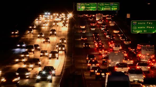 Busy Los Angeles Freeway Traffic At Night 2 by