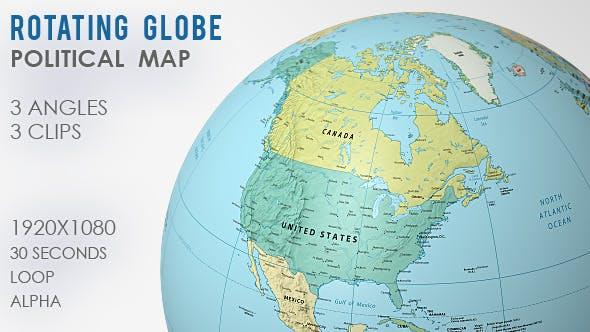 Rotating Globe World Map - 3 Views by VF   VideoHive