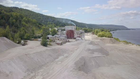 Aerial Panorama of Big Area of Limestone Plant in Quarry