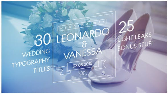 30 Wedding Typography Titles + 25 Light Leaks by mrmcray