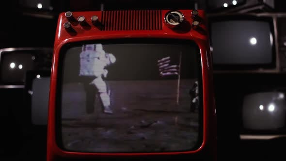 Astronauts on the Moon Surface and Retro TVs.