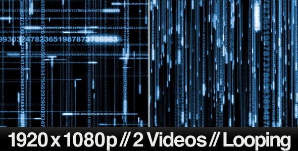 2 Digital Data Stream Matrix Effect Videos - LOOP by butlerm | VideoHive