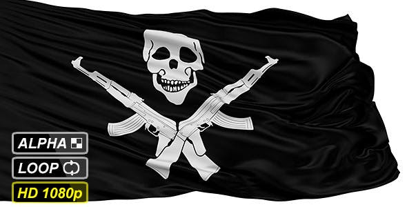 Isolated Somali Pirate Flag With Skull and AK47 by fckncg | VideoHive