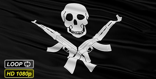 Black Somali Pirate Flag With Skull and AK47 by fckncg | VideoHive