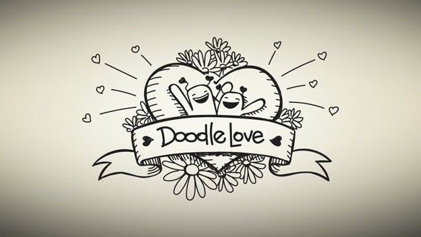Doodle Love Romantic Animated Video - After Effects Template