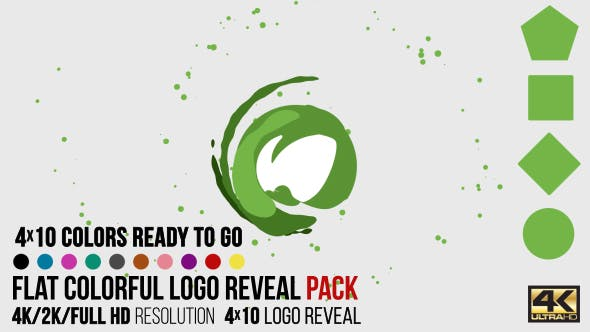 Flat Colorful Logo Reveal Pack by CandyMustache   VideoHive