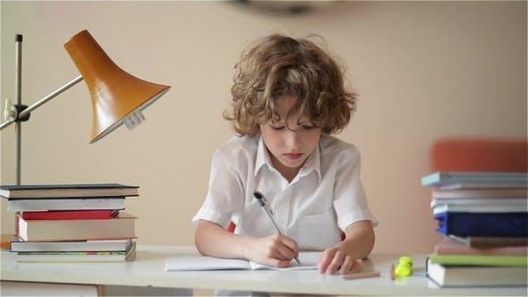 A Child Of Primary School Age Do Homework. Boy Did ...