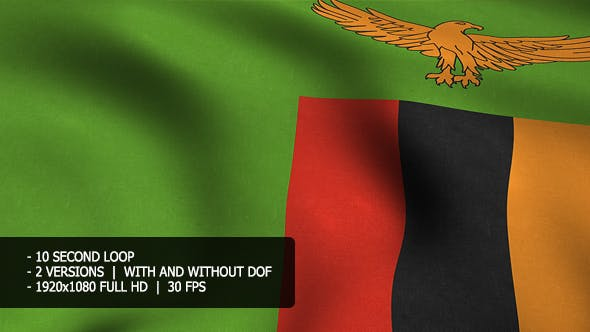 Zambia Flag Background by motion-MONSTER | VideoHive