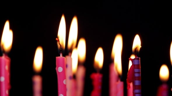 Lot Of Candles For Birthday Move From Left To Right And Rotate Stock Footage
