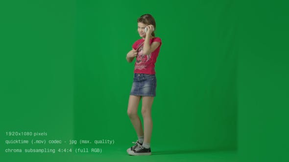 Teenager Girl Talking by Phone  Green Screen Studio by