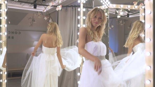 Lovely Bride Dancing Near Mirror In Wedding Dress By Hightfilm Videohive,Wood Nymph Wedding Dress