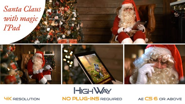 Videohive Santa Claus With Magic IPad 19072421 Free