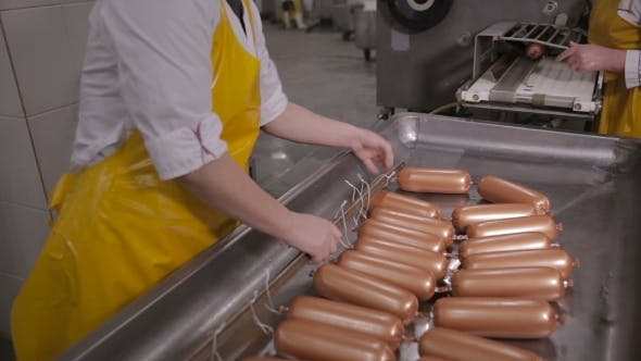Production of Sausages  Worker Operates Meat Processing