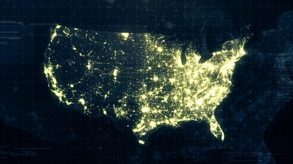 USA Map Night Lighting Rollback 4K by rodionova   VideoHive