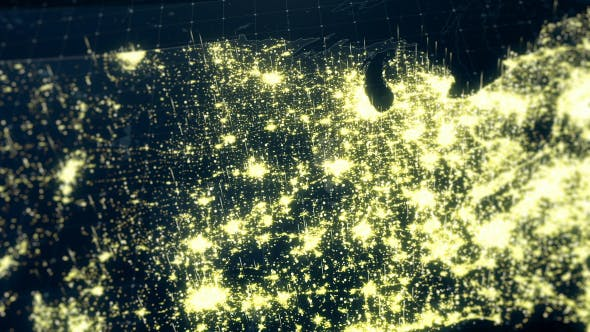 USA Map Night Lighting Close View HD by rodionova | VideoHive