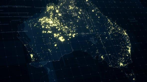Map Of Australia Hd.Australia Map At Night Hd By Rodionova Videohive