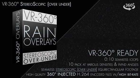 Rain Overlays VR-360° Editors Pack (StereoScopic 3D Over/Under) by