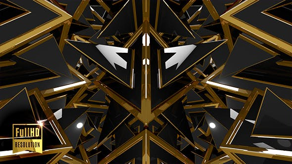 Black Gold Fantasy 3D Geometric Shapes Pattern by emotionica | VideoHive