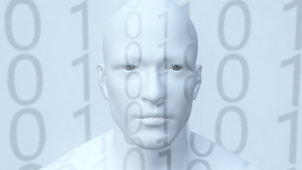 Representation of Humanoid Android Robot Artificial Intelligence Digital Immortality