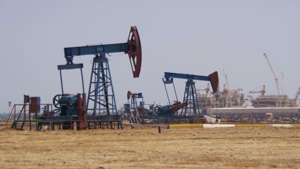 Oil Pumps, Pump Jack  Fossil Fuel Energy, Old Pumping Unit