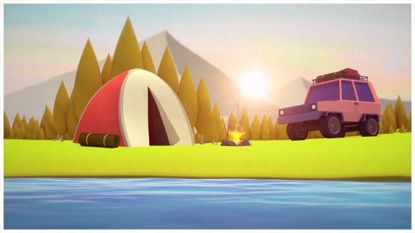 Low Poly Camping Background Loop by lapwing | VideoHive