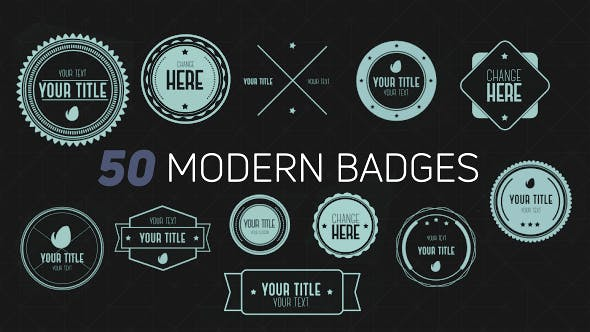 50 Modern Badges by luacsvfx | VideoHive