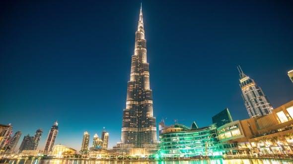 Dancing Fountain Near Burj Khalifa Illuminated By the City