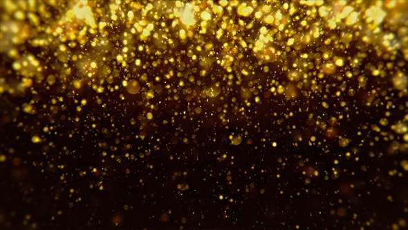Abstract Dark Gold Digital Particles Bokeh Rain Background