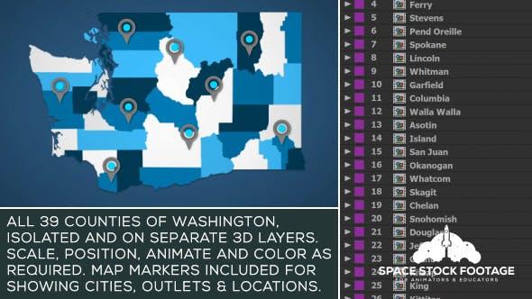 Washington Map Kit by SpaceStockFootage | VideoHive