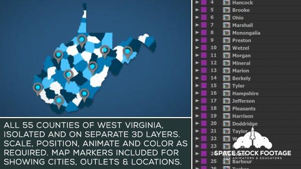 West Virginia Map Kit by SpaceStockFootage | VideoHive