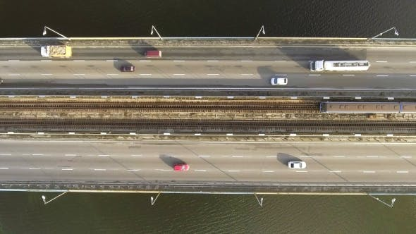 Aerial Top Down View Shot of Traffic on a Car Bridge  Video by shico2000