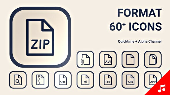 File Type Format Document Icon Set - Line Motion Graphics