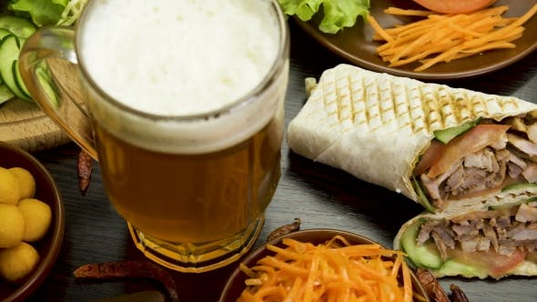 Mediterranean Food Shawarma and Beer by kiagarik | VideoHive