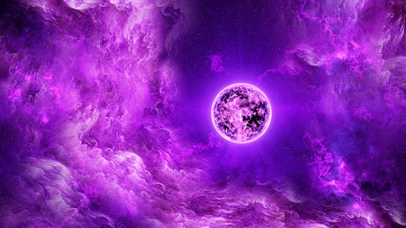Flying Through Abstract Purple Space Nebula To The Big