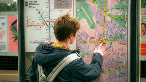 Man Looking At Subway Map.Young Man Looking At Subway Map By Vladburgman Videohive