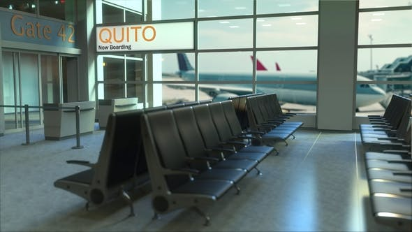 Quito Flight Boarding in the Airport Travelling To Ecuador by moovstock