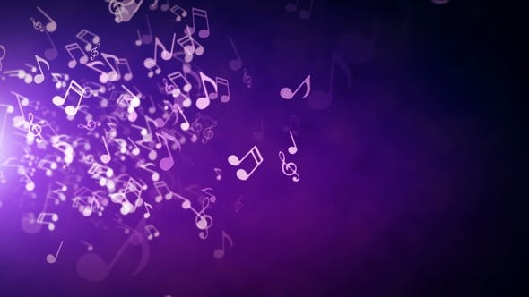 Floating Musical Notes on an Abstract Purple Background with