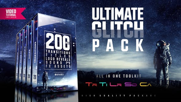 ULTIMATE GLITCH PACK: TRANSITIONS, TITLES, LOGO REVEALS, SOUND FX – PREMIERE PRO Free Download