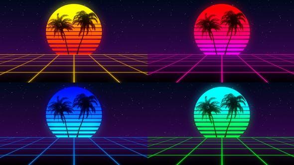 80s Retro Background Pack (Pack of 4) by VolkanKutlubay