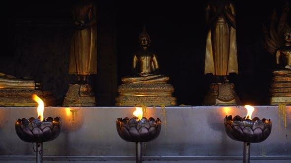 Lotus Bowl with Burning Oil Incense for Praying Buddha Gods