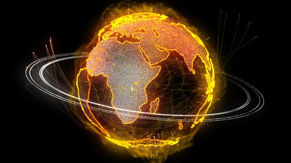 4K Cyber Earth Rotating Seamless Loop by footager | VideoHive