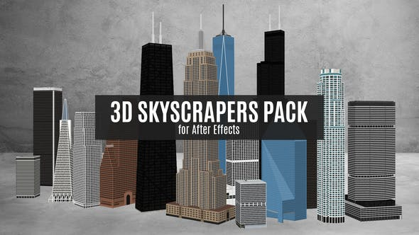 3D Skyscrapers Pack for After Effects by Longfin_Media