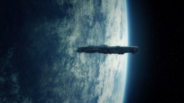 Spaceship Orbiting Earth In Lightning Storm by RockfordMedia | VideoHive
